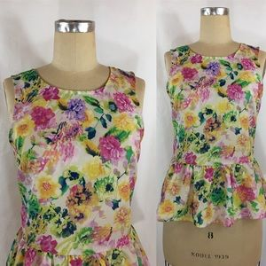 Floral Peplum Sleeveless Top
